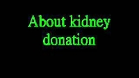 About kidney donation
