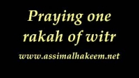 Praying one rakkah of witr